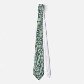 Corbata Personalizada Azul cerúleo y mandala verde de Sacramento