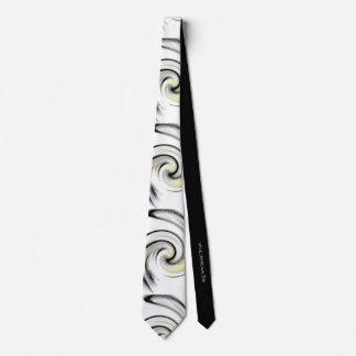 Corbata Personalizada Blanco con los remolinos amarillos, negros y