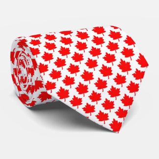 Corbata Personalizada Blanco rojo de la hoja de arce de Canadá