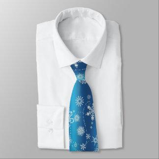 Corbata Personalizada Copos de nieve en azul