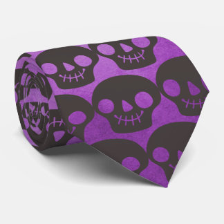 Corbata Personalizada Cráneos felices púrpuras y negros