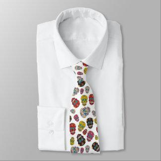 Corbata Personalizada Día del cráneo colorido mexicano muerto del azúcar
