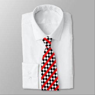 Corbata Personalizada El modelo a cuadros del coche de carreras rojo o