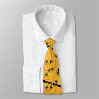 Corbata Personalizada El panal Drippy amarillo con manosea abejas en una
