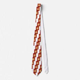 Corbata Personalizada Fondo doble chino del rojo de los pescados de Koi
