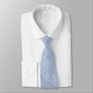 Corbata Personalizada Forma direccional azul y blanca del diamante