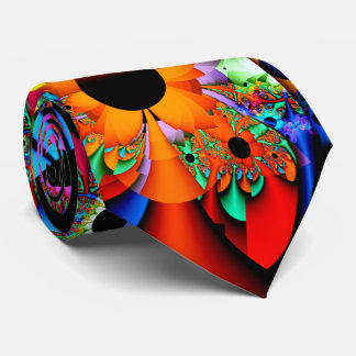 Corbata Personalizada Fractal del estilo del girasol de doble cara