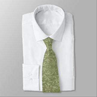 Corbata Personalizada Hojas del biloba del Ginkgo en verde del pinzón