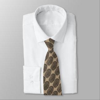 Corbata Personalizada huellas dactilares con el fondo del marrón oscuro