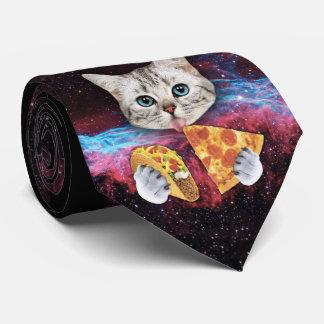 Corbata Personalizada Lazo loco del espacio de la pizza del Taco del