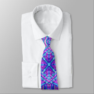 Corbata Personalizada Lazo púrpura y azul del caleidoscopio