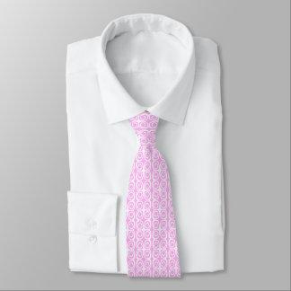Corbata Personalizada Lazo rosado con el diseño geométrico blanco