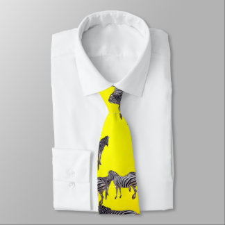 Corbata Personalizada Modelo de la cebra en amarillo de oro,
