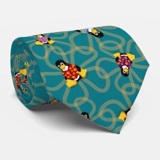 Corbata Personalizada Repentinamente lazo de los pingüinos (turquesa)