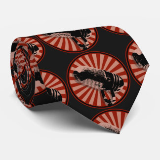 Corbata Personalizada Rojo gráfico del micrófono retro