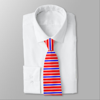 Corbata Personalizada Tela a rayas azul blanca roja