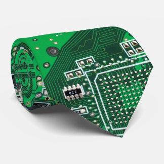Corbata Personalizada Verde de la placa de circuito del friki del
