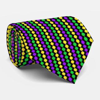 Corbata Personalizada Verde del carnaval, amarillo, gotas púrpuras en