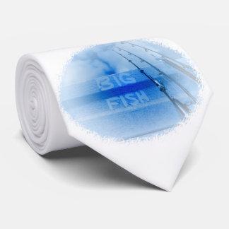 Corbata Pescando el sueño azul y blanco grande de los