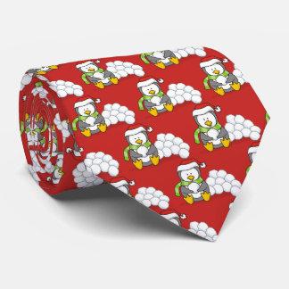Corbata Pingüino del navidad que se sienta con las bolas