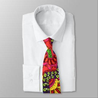 Corbata Pintada colorida abstracta del dibujo del Doodle