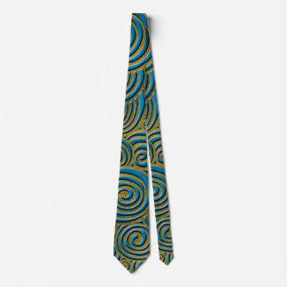 Corbata Remolino de oro elegante del Doodle en el cuero