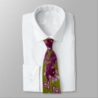 Corbata Remolinos florales púrpuras de las BAYAS del