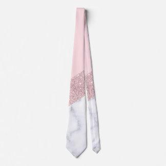 Corbata rosa de mármol blanco del purpurina color de rosa