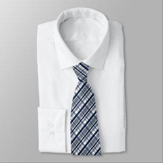 Corbata Tela escocesa de los azules marinos de la plata de