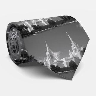 Corbata Templo de San Diego LDS en blanco y negro