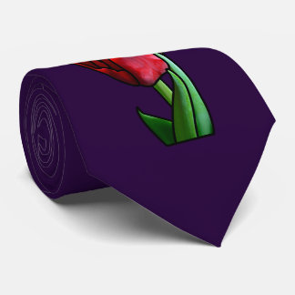 Corbata Tulipán rojo exótico del vitral