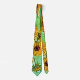 Corbata Vincent van Gogh - florero con doce girasoles