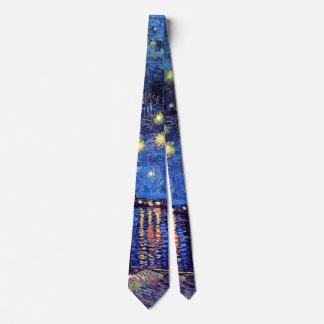 Corbata Vincent van Gogh - noche estrellada sobre el Rhone