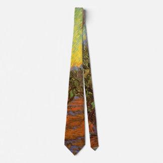 Corbatas Cielo anaranjado de la arboleda verde oliva de Van