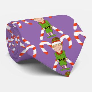 Corbatas Duende feliz con el lazo del bastón de caramelo