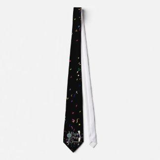 Corbatas Feliz Año Nuevo con Champán y el confeti