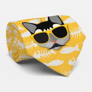 Corbatas Gato divertido de Catatude con el bigote y las