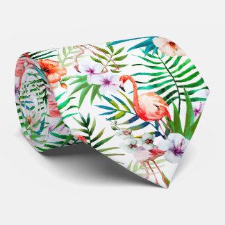 Corbatas Hojas tropicales de las flores de flamenco del