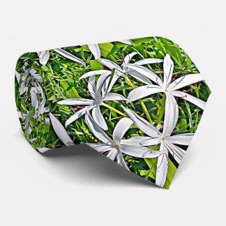 Corbatas Lirio verde y blanco - lazo floral elegante