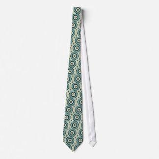 Corbatas Mandala de la flor blanca y del azul cerúleo