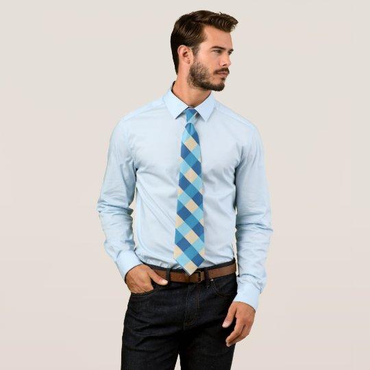 Corbatas Modelo azul y beige de la tela escocesa