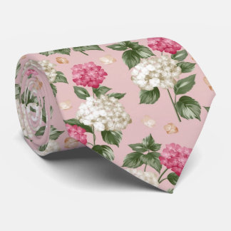 Corbatas Modelo inconsútil floral del Hydrangea rosado
