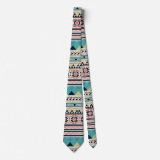 Corbatas Oro tribal de la turquesa del rosa del modelo del