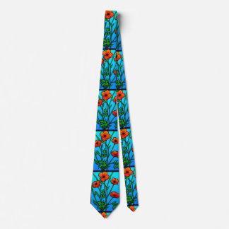 Corbatas Personalizadas Amapolas anaranjadas en lazo azul de la aguamarina