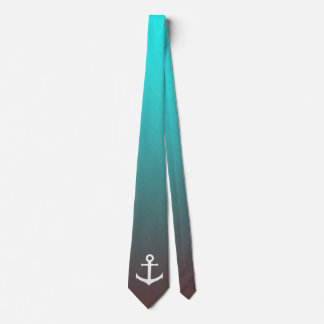 Corbatas Personalizadas Ancla blanca del rojo el | de la aguamarina de la