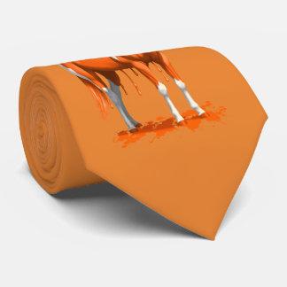 Corbatas Personalizadas Caballo mojado de la pintura del goteo anaranjado