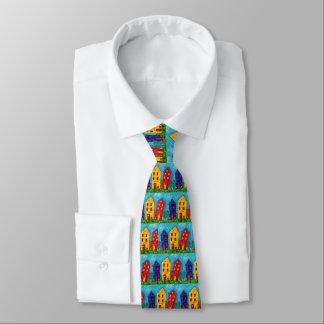Corbatas Personalizadas Cabaña artística de la casa colorida caprichosa