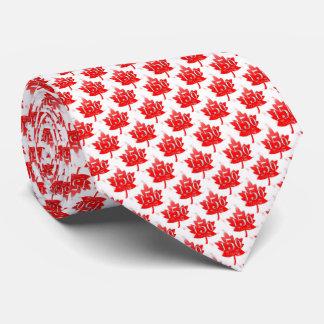 Corbatas Personalizadas Canadá 150 fuegos artificiales rojos de la hoja de