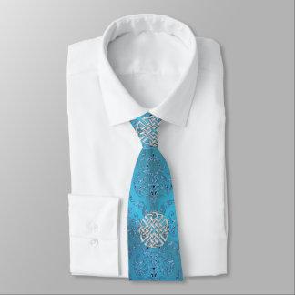 Corbatas Personalizadas Damasco azul metálico con el nudo céltico
