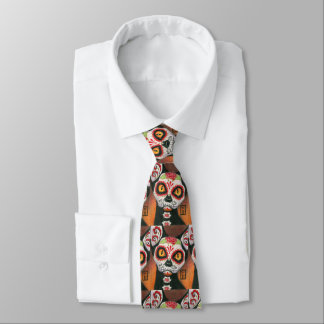 Corbatas Personalizadas Día del cráneo muerto del azúcar del gato